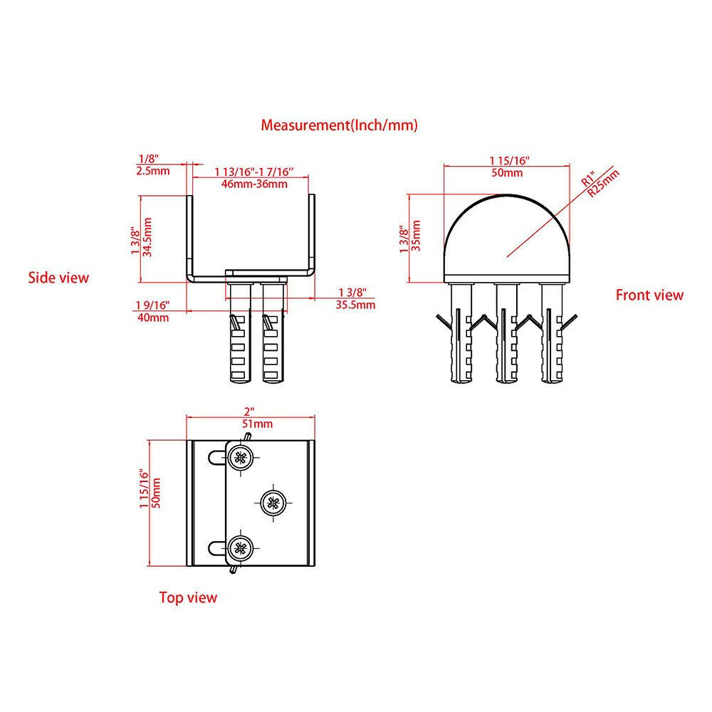 Stainless Steel Floor Guide Wall Mount Sliding Barn Door Hardware Up to 1-3//8W 1-1//4H Set of 2 TY