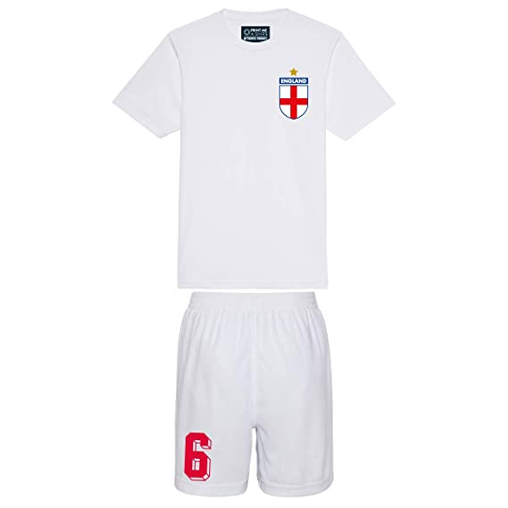 b4882995a Printmeashirt Kids Customisable England Style Home Football kit Shirt and  Shorts  Amazon.co.uk  Clothing