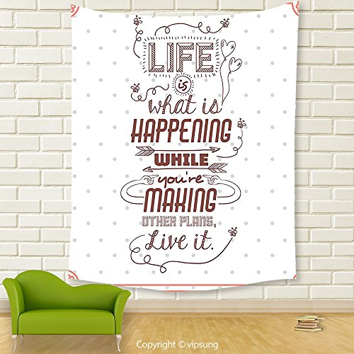 Vipsung House Decor Tapestry_Quotes Decor Collection Life Is What Is Happening While Youre Making Other Plans. Live It Attitude _Wall Hanging For Bedroom Living Room (Halloween Happenings In Boston)