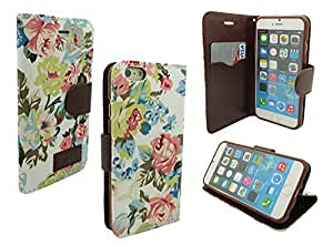 IPHONE 6 WALLET CASE, MOBILE KING USA iPhone 6 (4.7) INCH SCREEN Jean Leather Wallet Credit Card Case Holder (White Denim Floral)