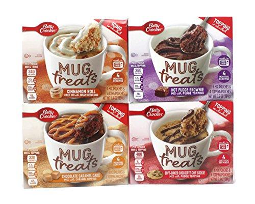 Variety Pack - Betty Crocker Mug Treats - Cinnamon Roll Cake W/ Cream Cheese Icing, Hot Fudge Brownie w/ Fudge Topping, Choc Caramel Cake w/ caramel Topping, Soft Baked Choc Chip Cookie w/ Fudge Top (Cheese Fudge Cream)