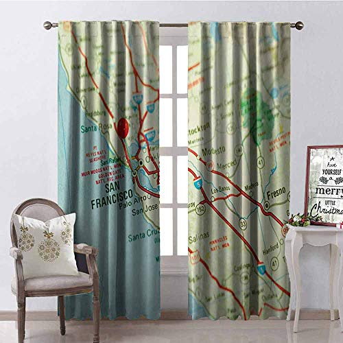 Gloria Johnson Map 99% Blackout Curtains Vintage Map of San Francisco Bay Area with Red Pin City Travel Location for Bedroom Kindergarten Living Room W42 x L84 Inch Pale Blue Pale Green Red
