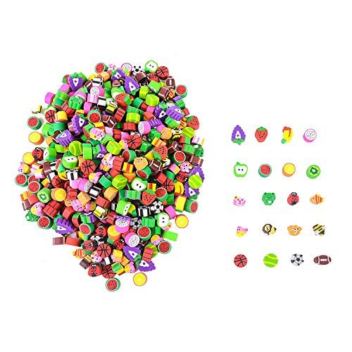Playoly 500 Miniature Novelty Erasers for Kids - Colorful Fruit and Adorable Animal Designs Won't Smudge or Tear Paper - Used for Homework Rewards, Party Favors, Art Supplies and More]()