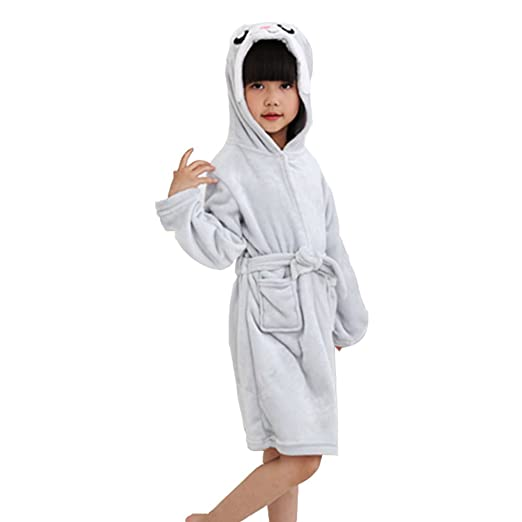 Amazon.com: Kids Bathrobe Dressing Gown Children Animal Hooded Robe ...
