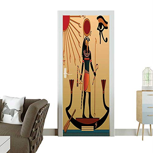 (Homesonne Waterproof Decoration Door Decals Ancient God Sun Ra Old Faith Grace Traditi al Pagan Multicolor Perfect ornamentW35.4 x H78.7)