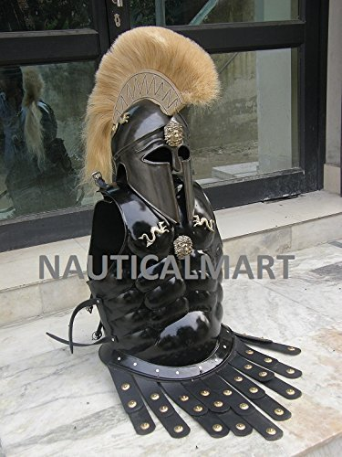 Greek Corinthian Helmet With Muscle Armor In Black -