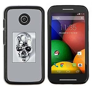TECHCASE---Cubierta de la caja de protección para la piel dura ** Motorola Moto E ( 1st Generation ) ** --Cráneo del cromo