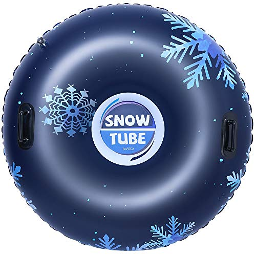 BAYKA Snow Tube for Winter Fun, Inflatable 47 Inch Heavy Duty Snow Sleds for Kids and Adults, Sturdy Sledding Tubes, Easy to Grip Handles, Carrying Bag Included