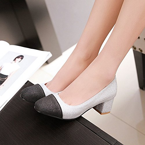 Top Chunky Pumps On Stitching Silver Elegant Glitter Mid Slip Toe Low Shoes Easemax Heel Womens Square q0BSSw