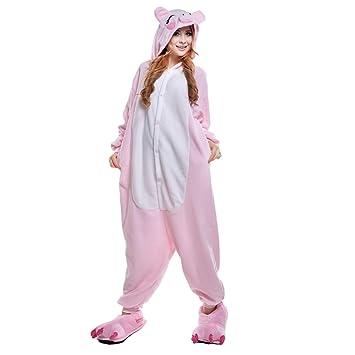 JINZFJG Pijamas Siameses de Franela Dibujo Animado Hombre/Mujer Pijama Disfraz Cosplay, Cerdo Rosado