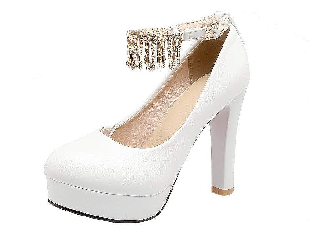 AgooLar Femme à Talon Haut GMBDB013307 Couleur AgooLar Unie Boucle Chaussures Femme Légeres, GMBDB013307 Blanc f037039 - jessicalock.space