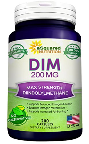 Pure DIM 200mg Max Strength - Diindolylmethane DIM Supplement Pills to Support Estrogen Metabolism & Balance, Plus Menopause Relief, PCOS, Hormonal Acne - Natural Aromatase Inhibitor - 200 Capsules Liquid Menopause Formula