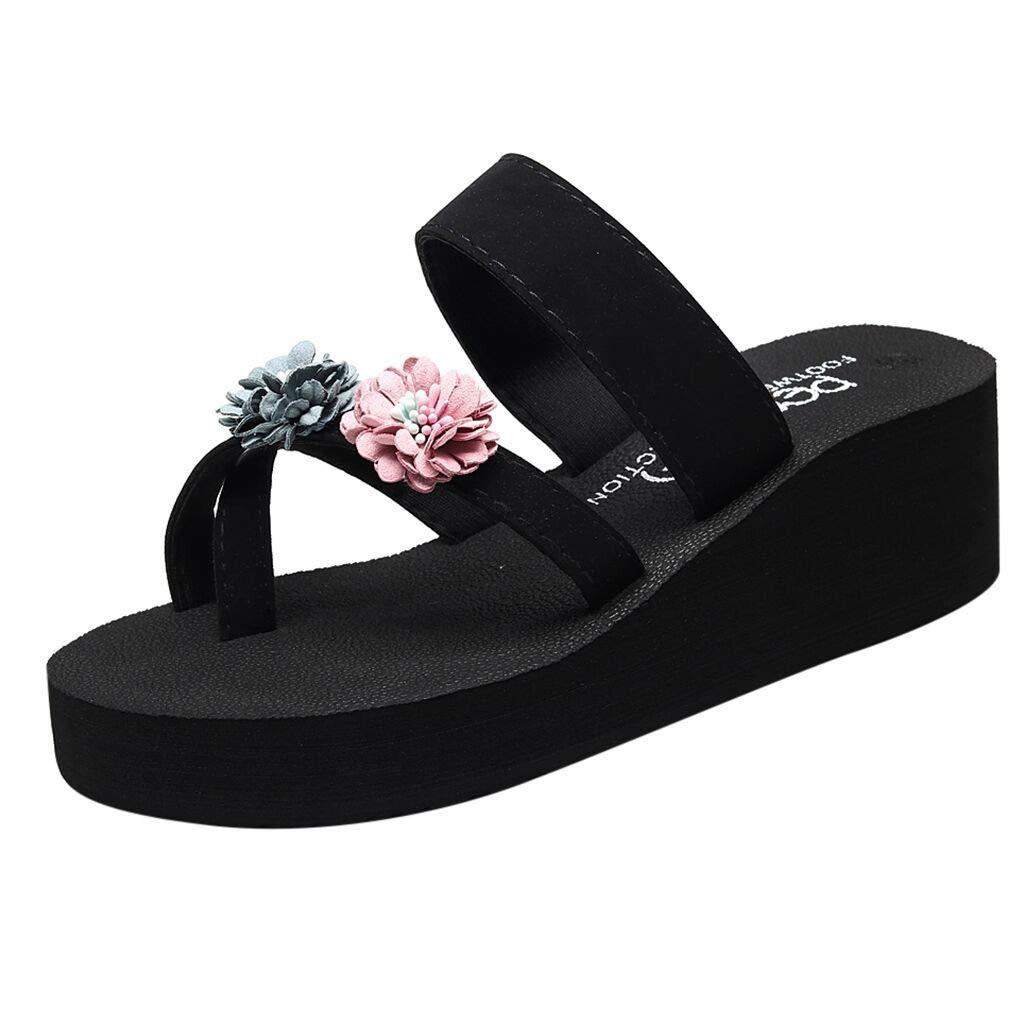 Donna Estate Bohemien Clip Toe Flip Flops Antiscivolo Cunei Pantofole Scarpe Da Spiaggia