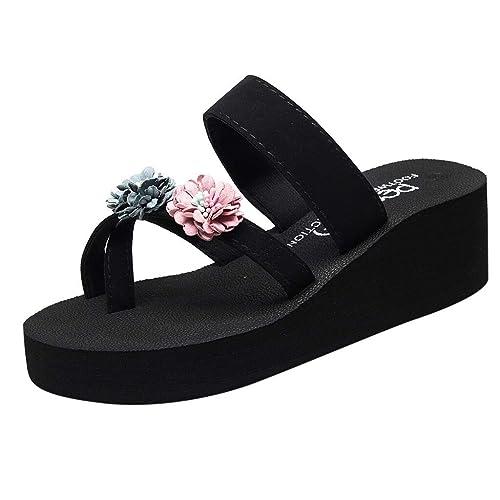 c8c6ab972 AOJIAN Shoes Womens Sandals Summer Floral Thick Wedge Flip Flop Slide  Slipper Clog Mule Gray