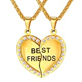 18K Gold Plated Rhinestone Heart Couple Pendant Best Engraved BFF Friendship Necklace For 2