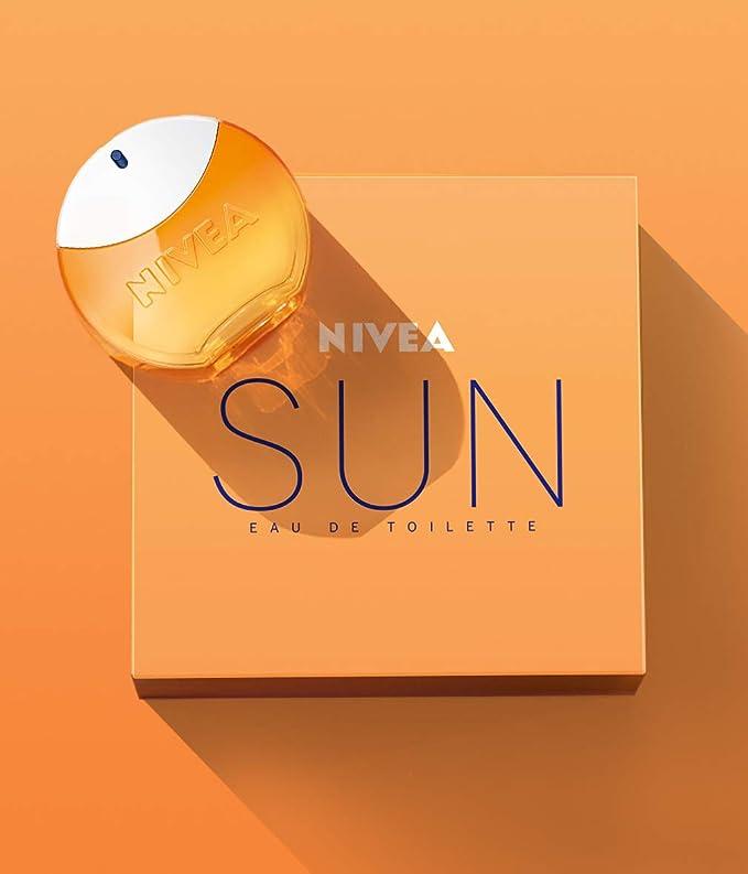 NIVEA SUN Eau de Toilette (1 x 30 ml) con el original aroma de la crema solar NIVEA SUN, perfume para mujer en un icónico frasco de perfume, sensual fragancia de mujer