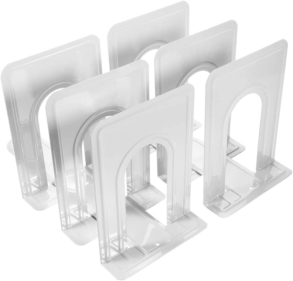 Metal Bookends, Book Ends Economy Universal Nonskid Heavy Duty Bookends Shelves Office White 6.69 x 4.9 x 4.3in,3 Pair/6 Piece