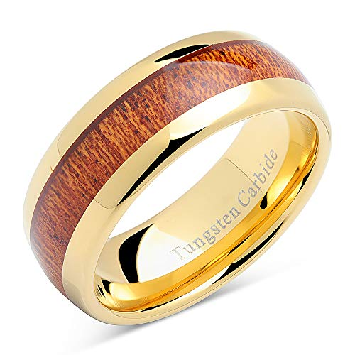 (100S JEWELRY Mens Wedding Bands Tungsten Rings Koa Wood Inlay 14k Gold Plated Size 6-16 (8) )