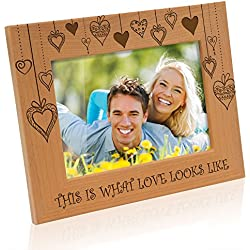 Kate Posh - Rain of Hearts - This is what Love looks like Wood Picture Frame (5x7 - Horizontal)