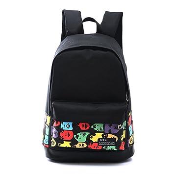 Lienzo Mochila bolsa - ligero Casual mochilas para adolescentes chicas jóvenes para escuela excursión de salir ventana compras Color face 18*30*45cm: ...
