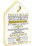 TOILET RULES Wooden White & Gold Plaque Shabby Chic Sign Vintage Rustic