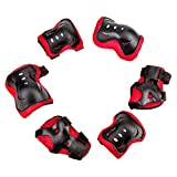 Kids' Professional 6 PCS Sports Protective Gear Knee and Elbow Palm safety pad Safeguard Knee Elbow Wrist Brace Support Pad Set equipment Protector for Children Roller Skating Cycling GYM Skateboard