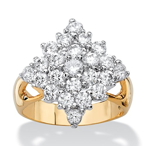 (Palm Beach Jewelry White Cubic Zirconia 14k Yellow Gold-Plated Diamond-Shaped Cluster Cocktail Ring Size 8)
