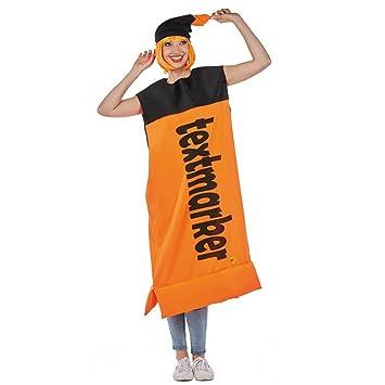 Textmarker Kostum Orange Stift Spasskostum Fasching Partnerkostum