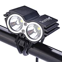SecurityIng Waterproof 1200 Lumens XM-L U2 LED Bicycle Light 4 Modes Super Bright Lighting Lamp Bike Lamp Headlight with 8.4V Rechargeable Battery Pack and Charger for Camping, Cycling, Hiking, Riding - Black