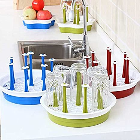 dingdangbell 8 holes Bottle Dish Cup Drain Dry Organizer Water Mug Bottle Stand Tray Holder Blue