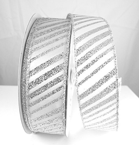 Wire Edged Misty White and Silver Diagonal Stripes Christmas Ribbon 1 1/2