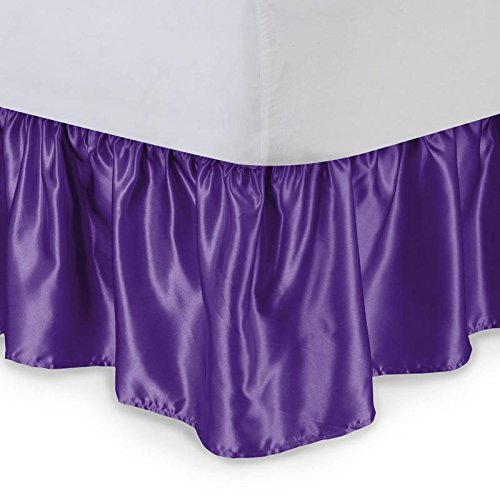 "Sona Bedding Solutions Silky Shiny Bedding Mattress Bed Dressing DUST Ruffle Satin Bed Skirt 15"" inch Drop Solid (Queen, Purple)"