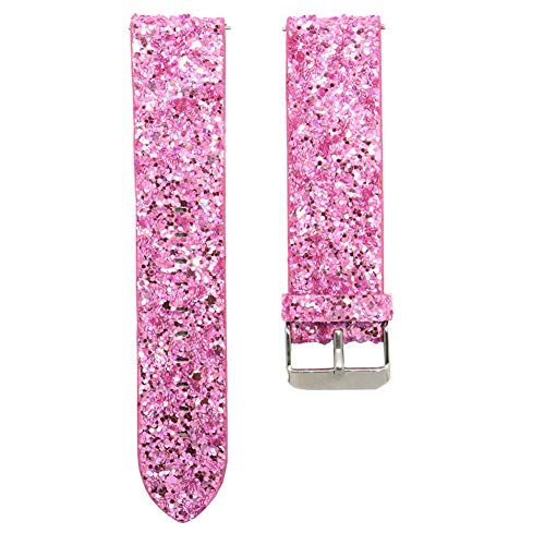 Gyswshh Smart Bracelet Strap Watch Band Faux Leather Shiny Sequin Women for Fitbit Versa Pink