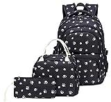 Kids Girls Backpack Elementary School Paw Prints Bookbag 3pcs Set with Lunch Bag (Black)