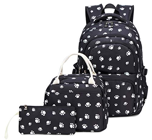 Kids Girls Backpack Elementary School Paw Prints Bookbag 3pcs Set with Lunch Bag (Black) ()