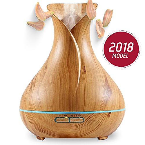 Aromazon Diffuser & Humidifier Wood Grain Ultrasonic Aromatherapy Essential Oil Air Purifier (400ml) by aromazon