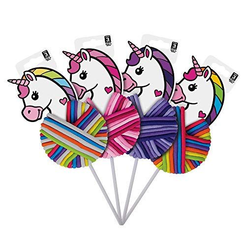 Mozlly Rainbow Unicorn Lollipop Shaped Soft Elastic Hair Ties - Party Favor Thick Hairbands Bracelets for Slumber Sleepovers, Birthday Party Goodie Bag for Girls Adult Tween Ponytail Holders (4 Items)