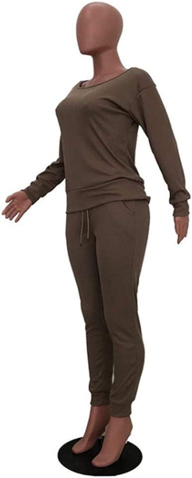 BALABA◕。Women Fall /& Winter Color Boat Neck Rib-Knit Trousers Set Pullover Sweater Top /& Pants 2 Piece Outfits Tracksuit Gray