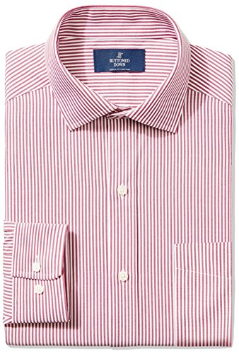 Bengal Stripe Striped Dress Shirt - BUTTONED DOWN Men's Classic Fit Spread-Collar Non-Iron Dress Shirt, Burgundy Bengal Stripe, 16.5
