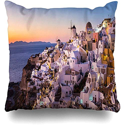 (Throw Pillow Cover Square 18x18 Mediterranean Blue Santorini World Famous Oia Village Ia Sunset Nature Aegean Caldera City Design Summer Zippered Cushion Case Home Decor Covers)