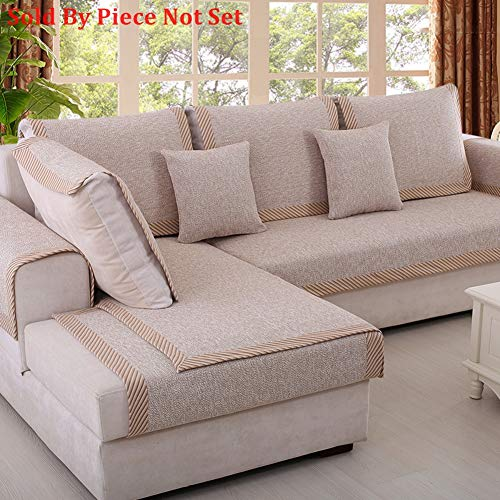 Sofa Furniture Protector for pet or Dog Sofa Cover All Season Sectional Sofa Throw slipcover L Shape Solid Color Thicken Cotton and Linen Couch slipcover -1 Piece-C 35x35inch(90x90cm)