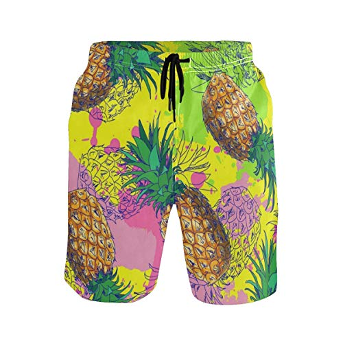 Cocoa trade Mens Swim Trunks,Tropic Fruit Pine Beach Board Shorts with Pockets Casual Athletic Swimming Short L