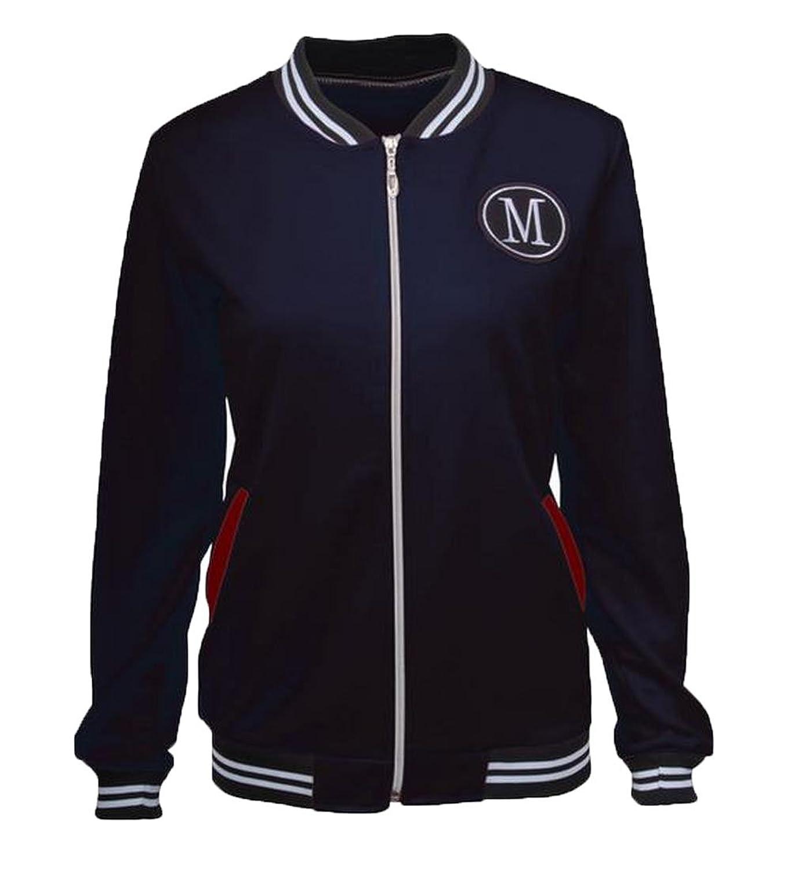 Honey GD Women's Classic Casual Wild Stand Collar Solid Zipper Coat Jacket