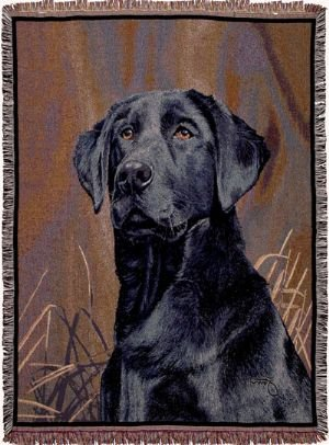 (Simply Home Black Labrador Retriever Dog Deluxe Full-Size Tapestry Blanket Throw SKU TP816)