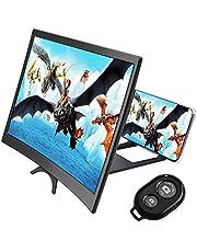 Telefoon gebogen schermvergroter en camerasluiter Afstandsbediening-combinatie, CestMall 12 inch 3D HD-scherm Smartphone-versterker met opvouwbare standaardhouder, voor elke smartphone
