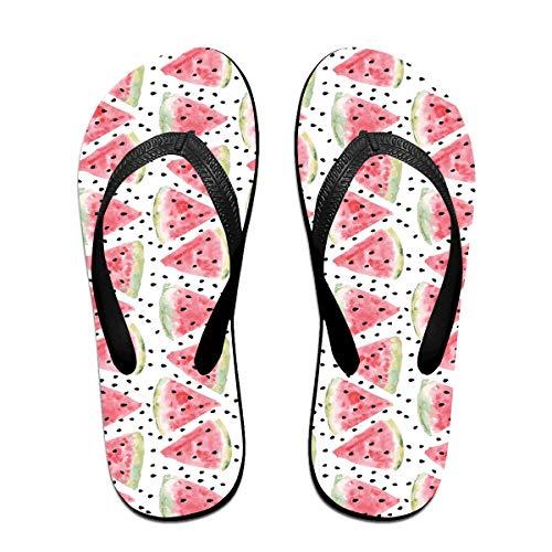SY COMPACT Pattern of Sweet Juicy Pieces Watermelon Man & Women's Unisex Beach Summer Lightweight Slipper Flip Flop Black