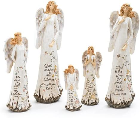 Resin Angel Figurines with Psalm Messages Set of 5