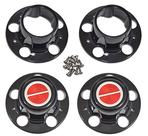 - BB Auto Set of 4 NEW 4x4 Black Wheel Hub Center Caps Replacement for Ford Ranger Bronco II Explorer 4x4 4WD Black Cap Red Emblem with screws 2 open front 2 closed rear caps