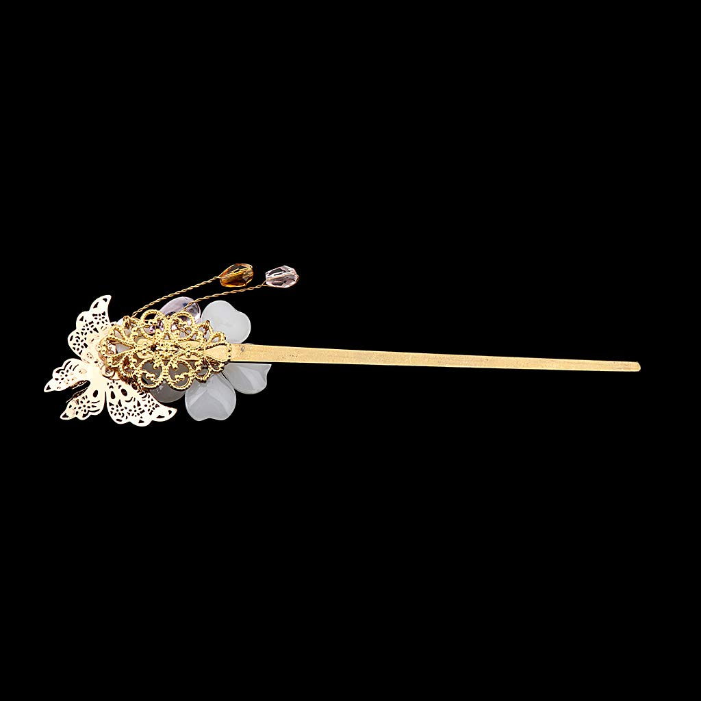 Fityle Flower Hair Stick Chopstick Bun Holder Metal Hairpin Ancient Chinese Style