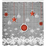 Ambesonne Red Holiday Star Ornaments and Snowflake & Gray Christmas Fabric Shower Curtain